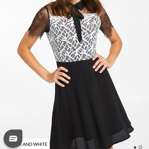 Twik Two-Tone Fit and Flare Lace Dress